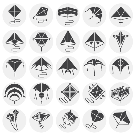 Kites icons set on circles background for graphic and web design. Simple vector sign. Internet concept symbol for website button or mobile app