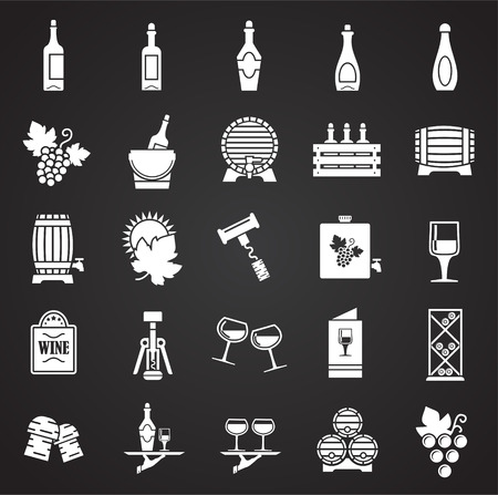 Wine related icons set on black background for graphic and web design. Simple vector sign. Internet concept symbol for website button or mobile app.