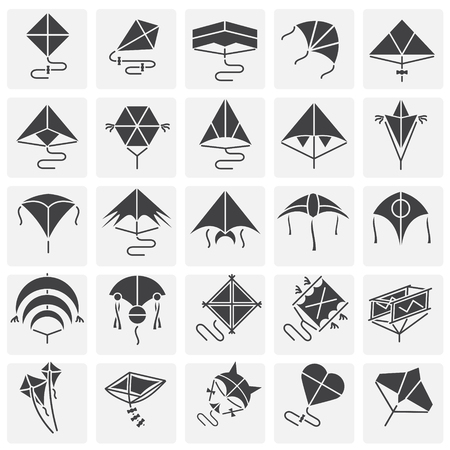Kites icons set on squares background for graphic and web design. Simple vector sign. Internet concept symbol for website button or mobile app.