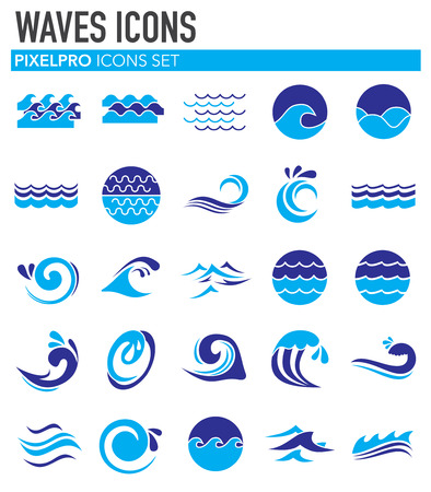 Waves icons set on white background for graphic and web design. Simple vector sign. Internet concept symbol for website button or mobile app.