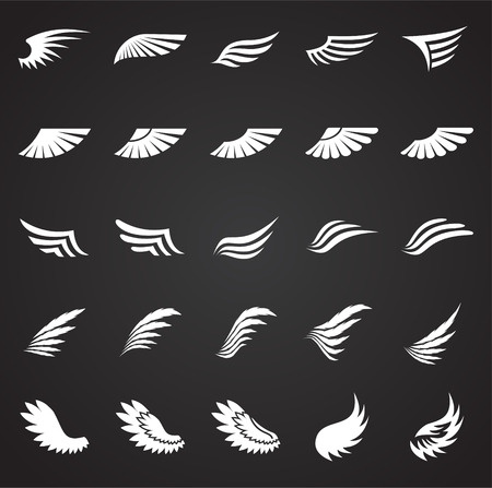 Wings icons set on black background for graphic and web design. Simple vector sign. Internet concept symbol for website button or mobile app. Ilustração