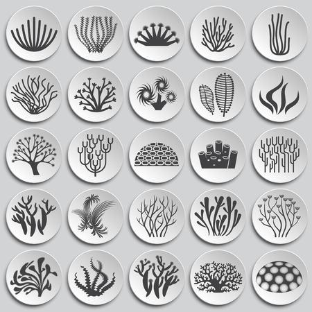 Icônes de corail sur fond pour la conception graphique et web. Illustration simple. Symbole de concept Internet pour le bouton de site Web ou l'application mobile.