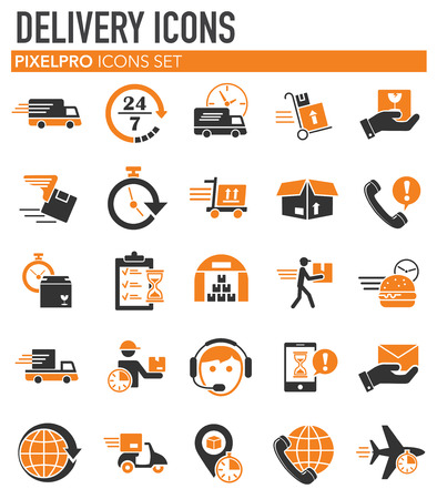 Delivery related icons set on white background for graphic and web design. Simple vector sign. Internet concept symbol for website button or mobile app Vektoros illusztráció
