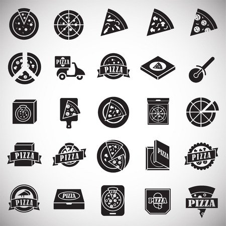 Pizza related icons set on white background for graphic and web design. Simple vector sign. Internet concept symbol for website button or mobile app.