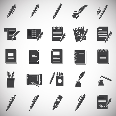 Writing related icons set on background for graphic and web design. Simple illustration. Internet concept symbol for website button or mobile app.