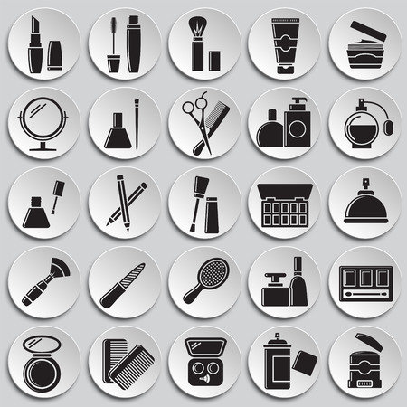 Beauty related icons set on plates background for graphic and web design. Simple vector sign. Internet concept symbol for website button or mobile app. Çizim