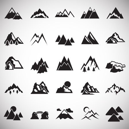 Mountains icons set on white background for graphic and web design. Simple vector sign. Internet concept symbol for website button or mobile app.