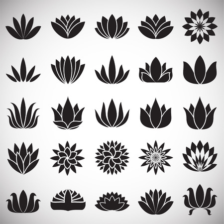 Lotos flowers icons set on white background for graphic and web design. Simple vector sign. Internet concept symbol for website button or mobile app.