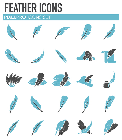 Feather icons set on white background for graphic and web design. Simple vector sign. Internet concept symbol for website button or mobile app.