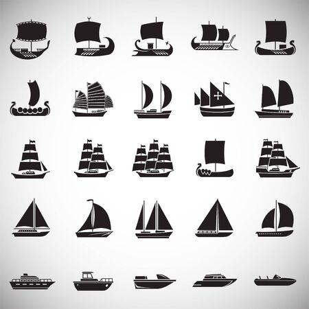 Ship icons set on white background for graphic and web design. Simple vector sign. Internet concept symbol for website button or mobile app.