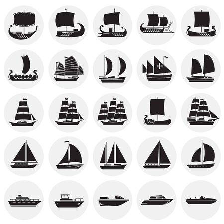 Ship icons set on circles background for graphic and web design. Simple vector sign. Internet concept symbol for website button or mobile app. Illustration