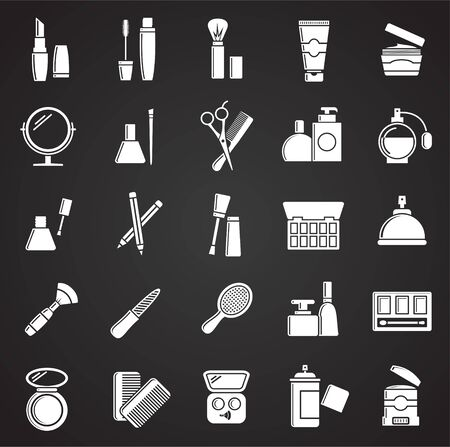 Beauty related icons set on black background for graphic and web design. Simple vector sign. Internet concept symbol for website button or mobile app.
