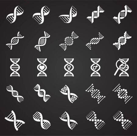 DNA icons set on black background for graphic and web design. Simple vector sign. Internet concept symbol for website button or mobile app Иллюстрация