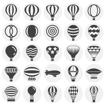 Hot Air balloon icons set on background for graphic and web design. Simple illustration. Internet concept symbol for website button or mobile app