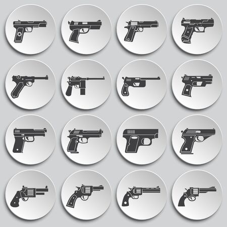 Pistol related icons set on background for graphic and web design. Simple illustration. Internet concept symbol for website button or mobile app