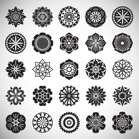 Flower pattern icons set on background for graphic and web design. Simple illustration. Internet concept symbol for website button or mobile app