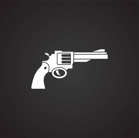 Pistol related icon on background for graphic and web design. Simple illustration. Internet concept symbol for website button or mobile app