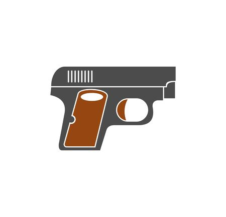 Pistol related icon on background for graphic and web design. Simple illustration. Internet concept symbol for website button or mobile app 免版税图像 - 124836652