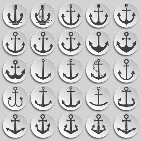 Anchor icons set on background for graphic and web design. Simple illustration. Internet concept symbol for website button or mobile app Ilustrace
