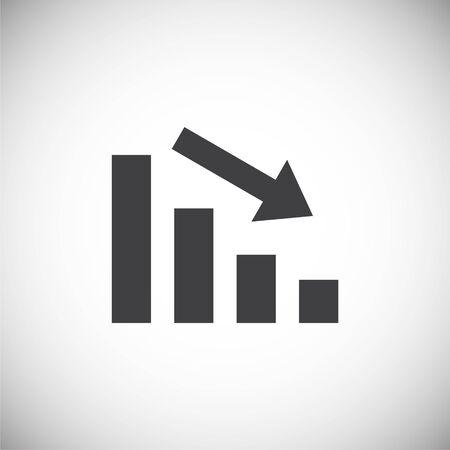 Icono de gráfico hacia abajo en el fondo para diseño gráfico y web. Ilustración simple. Símbolo del concepto de Internet para el botón del sitio web o la aplicación móvil