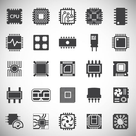 Computer chip related icons set on background for graphic and web design. Simple illustration. Internet concept symbol for website button or mobile app
