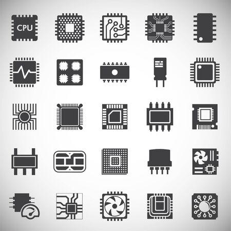 Icônes liées aux puces informatiques définies sur l'arrière-plan pour la conception graphique et Web. Illustration simple. Symbole de concept Internet pour le bouton de site Web ou l'application mobile