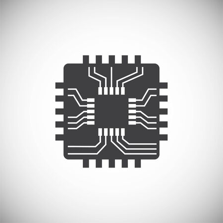 Computer chip related icon on background for graphic and web design. Simple illustration. Internet concept symbol for website button or mobile app