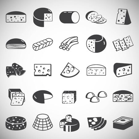 Cheese related icons set on background for graphic and web design. Simple illustration. Internet concept symbol for website button or mobile app