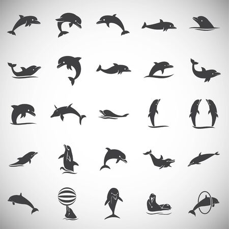 Dolphin icons set on background for graphic and web design. Simple illustration. Internet concept symbol for website button or mobile app