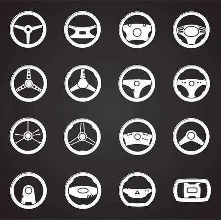 Steering wheel related icon set on background for graphic and web design. Simple illustration. Internet concept symbol for website button or mobile app