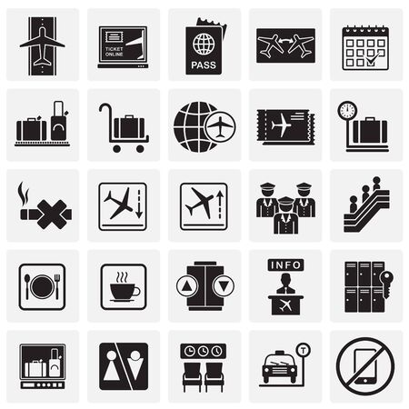 Airport related icons set on squares background for graphic and web design. Simple vector sign. Internet concept symbol for website button or mobile app Ilustração