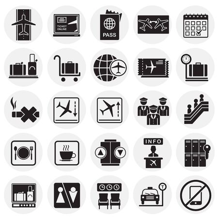 Airport related icons set on circles background for graphic and web design. Simple vector sign. Internet concept symbol for website button or mobile app