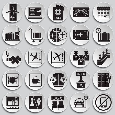 Airport related icons set on plates background for graphic and web design. Simple vector sign. Internet concept symbol for website button or mobile app Illustration