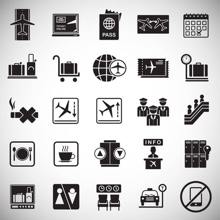 Airport related icons set on white background for graphic and web design. Simple vector sign. Internet concept symbol for website button or mobile app