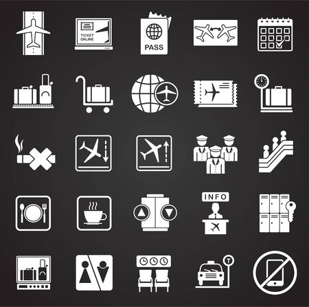 Airport related icons set on black background for graphic and web design. Simple vector sign. Internet concept symbol for website button or mobile app
