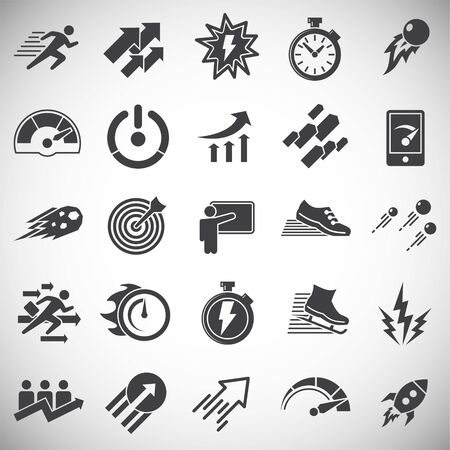 Performance icons set on background for graphic and web design. Simple illustration. Internet concept symbol for website button or mobile app