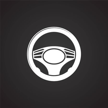 Steering wheel icon on background for graphic and web design. Simple illustration. Internet concept symbol for website button or mobile app