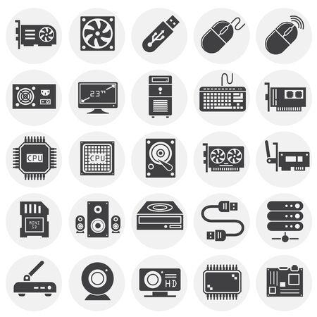 Icônes de matériel informatique définies sur fond pour la conception graphique et web. Illustration simple. Symbole de concept Internet pour le bouton de site Web ou l'application mobile