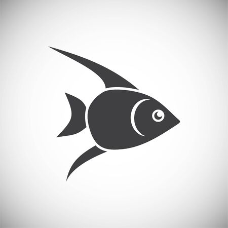 Fischbezogenes Symbol im Hintergrund für Grafik- und Webdesign. Einfache Abbildung. Internet-Konzeptsymbol für Website-Button oder mobile App