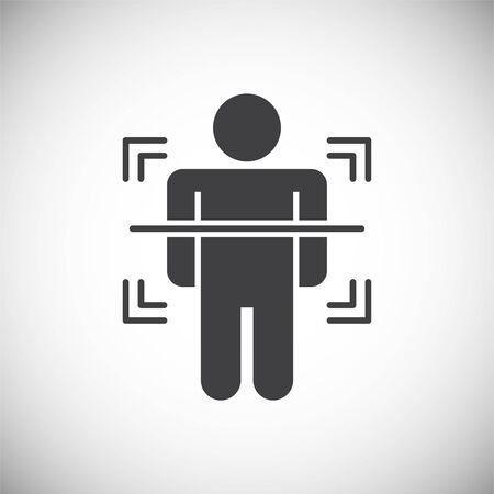 Body scan related icon on background for graphic and web design. Simple illustration. Internet concept symbol for website button or mobile app Vettoriali