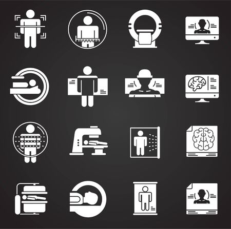 Body scan related icon set on background for graphic and web design. Simple illustration. Internet concept symbol for website button or mobile app