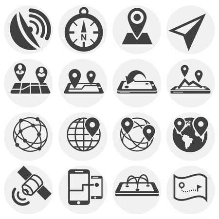 Geolocation related icons set on background for graphic and web design. Simple illustration. Internet concept symbol for website button or mobile app