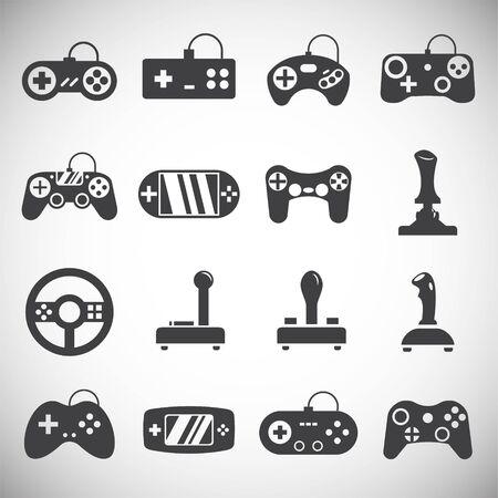 Ikony joysticka ustawione na tle dla projektowania graficznego i webowego. Prosta ilustracja. Symbol koncepcji internetowej dla przycisku strony internetowej lub aplikacji mobilnej Ilustracje wektorowe
