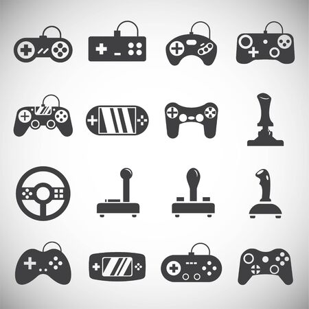 Joystick icons set on background for graphic and web design. Simple illustration. Internet concept symbol for website button or mobile app