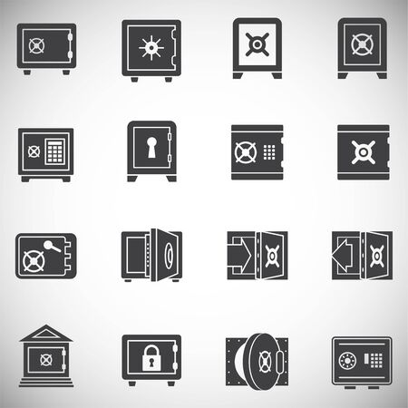 Money safe icons set on background for graphic and web design. Simple illustration. Internet concept symbol for website button or mobile app