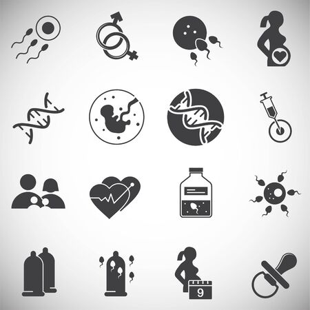 Reproduction related icons set on background for graphic and web design. Simple illustration. Internet concept symbol for website button or mobile app