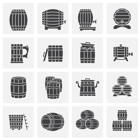 Barrel icons set on background for graphic and web design. Simple illustration. Internet concept symbol for website button or mobile app