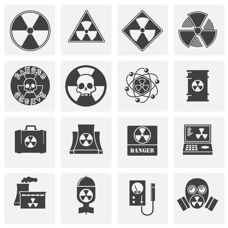 Radiation related icons set on background for graphic and web design. Simple illustration. Internet concept symbol for website button or mobile app