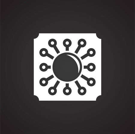 Computer chip related icon on background for graphic and web design. Simple illustration. Internet concept symbol for website button or mobile app Imagens - 125800359
