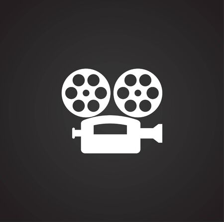 Cinema camera related icon on background for graphic and web design. Simple illustration. Internet concept symbol for website button or mobile app